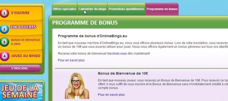 Bonus jeu online bingo
